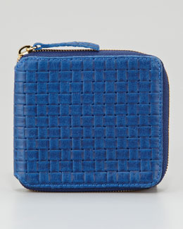 Clare Vivier Basket-Weave Leather Half-Zip Wallet