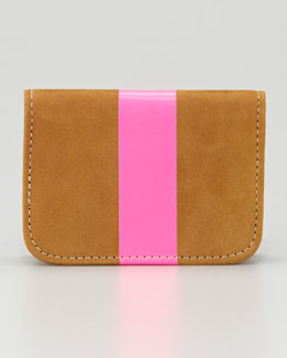 Clare Vivier Leather Card Case, Caramel/Neon Pink