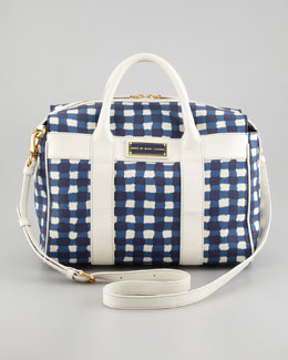 MARC by Marc Jacobs Marc'd and Check'd Small Satchel Bag, Blue/White