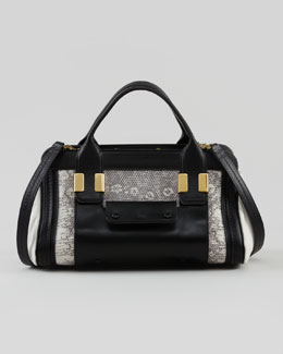 Chloe Alice Small Satchel Bag, Black/White