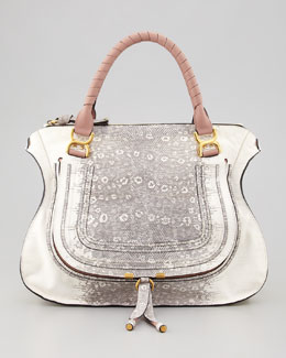 Marcie Large Lizard-Print Leather Shoulder Bag