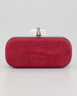 Marchesa Lily Medium Stingray Box Clutch, Pink