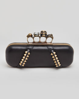 Alexander McQueen Studded Long Knuckle Box Clutch Bag, Black