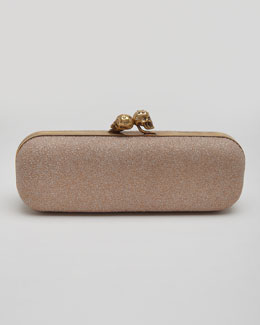 Alexander McQueen Twin Skull Metallic Sugar Box Clutch Bag