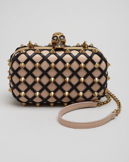 Alexander McQueen Studded Skull-Clasp Clutch Bag, Blush/Black