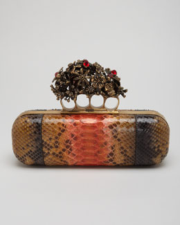 Alexander McQueen Python Knuckle Box Clutch Bag