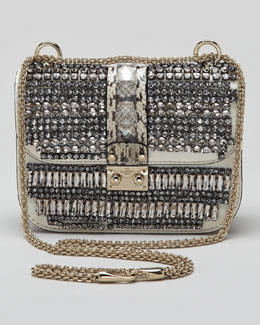 Valentino Small Glam Crystal-Covered Lock Crossbody Bag
