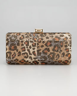 Judith Leiber Leopard-Print Hexagonal Clutch Bag