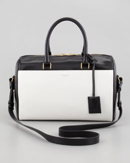 Saint Laurent Classic Duffel 6 Small Bi-Color Tote Bag, Black/White