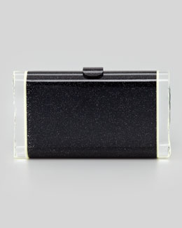 Edie Parker Lara Glitter Clutch Bag, Black