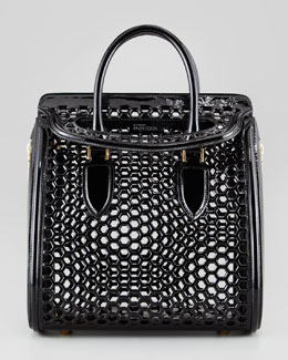Alexander McQueen Medium Heroine Lasercut Honeycomb Satchel Bag, Black