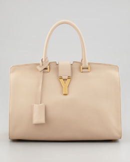 Saint Laurent Classic Cabas Y-Ligne Leather Carryall, Neutral