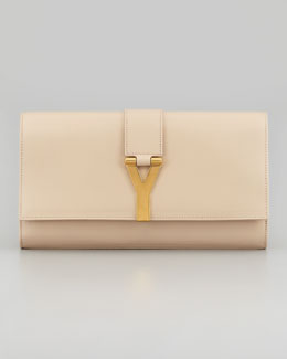Saint Laurent Y Ligne Soft Clutch Bag, Neutral