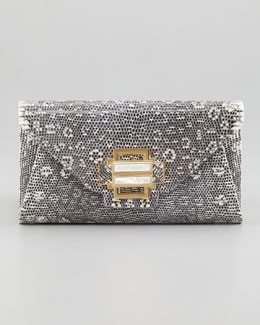 Kara Ross Electra Lizard Clutch Bag, Gray