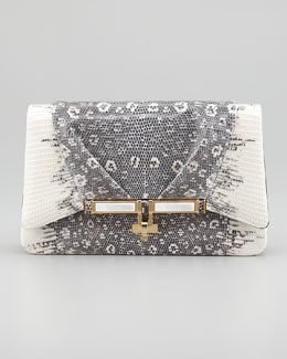 Kara Ross Priscilla Lizard Clutch Bag, Gray