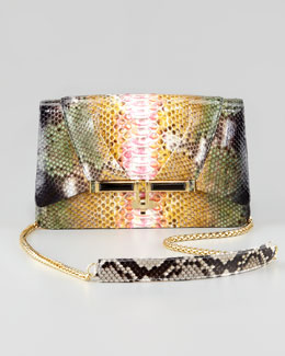 Kara Ross Priscilla Garden Splatter Python Clutch Bag, Multi