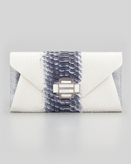 Kara Ross Electra Medium Python Clutch, White