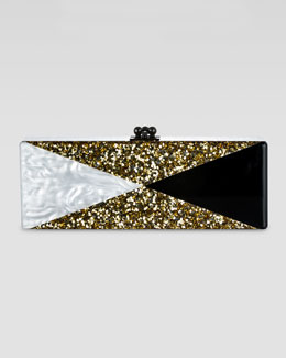 Edie Parker Flavia Ribbon Clutch, Gold/White/Black