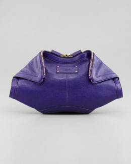 Alexander McQueen De-Manta Leather Clutch Bag, Purple