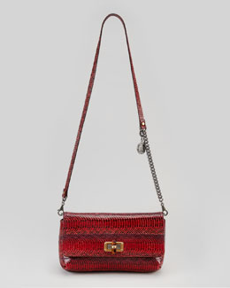 Lanvin Happy Poppy Snake Pouchette Bag, Red