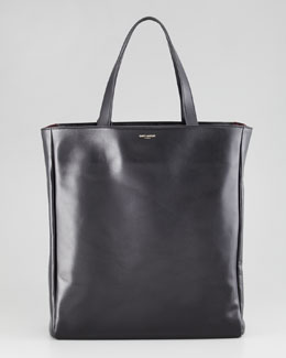 Saint Laurent Reversible Leather/Suede North-South Tote Bag, Black/Red