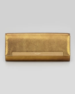 Saint Laurent Lutetia Flap Clutch Bag, Gold