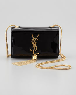 Saint Laurent Cassandre Small Patent Crossbody Bag, Black