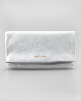 Saint Laurent Letters Large Metallic Fold-Over Clutch Bag, Silver
