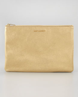 Saint Laurent Letters Medium Metallic Zip Clutch Bag, Gold