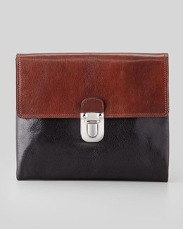 Marni Bicolor Leather Pouchette Clutch, Brown/Black