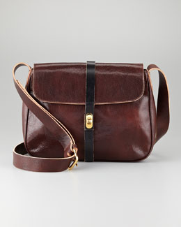 Marni Flap-Top Leather Crossbody Bag, Brown