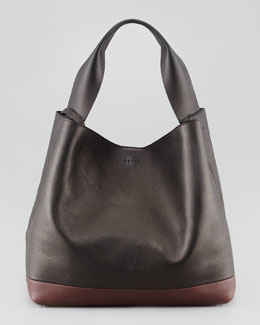Marni Bicolor Hobo Shoulder Bag, Black/Maroon