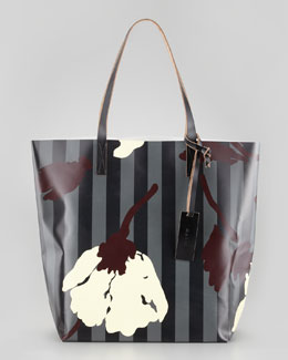 Marni Floral-Print Striped PVC Shopping Bag