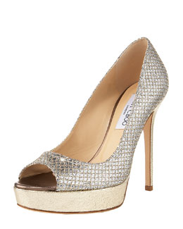 Jimmy Choo Crown Open-Toe Platform Pump