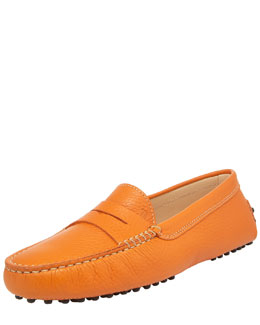 Tod's Gommini Pebbled Moccasin, Orange