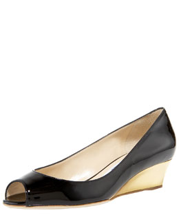 Jimmy Choo Bergen Low-Wedge Patent Pump