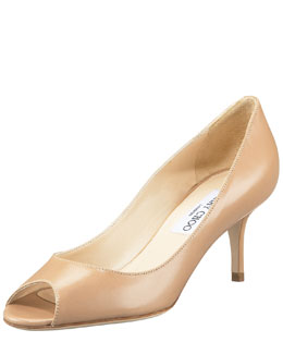 Jimmy Choo Gilbert Peep-Toe Leather Pump