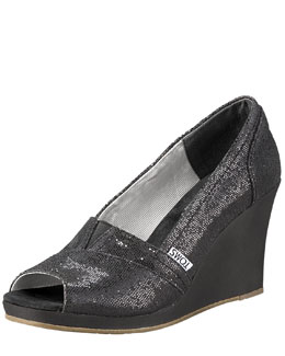 TOMS Shoes Glittered Peep-Toe Wedge