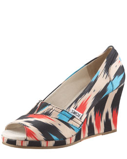 TOMS Shoes Ikat-Print Peep-Toe Wedge