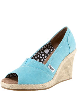 TOMS Shoes Canvas Espadrille Wedge