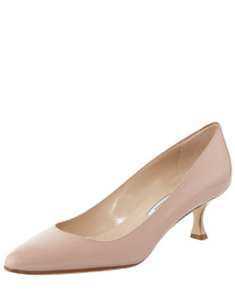 Manolo Blahnik Sena Almond-Toe Pump