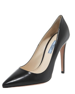 Prada Leather Point-Toe Pump