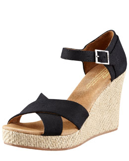 TOMS Shoes Canvas Wedge Sandal