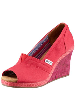 TOMS Shoes Paz Fabric Peep-Toe Wedge