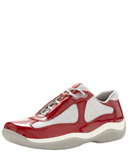 Prada Patent Leather & Mesh Lace-Up Sneaker