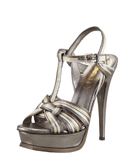 YSL Metallic Tribute Sandal