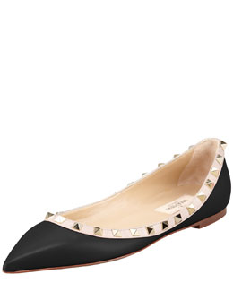 Valentino Rockstud Leather Ballerina Flat, Black