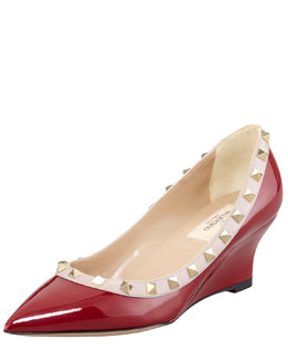 Valentino Rockstud Patent Leather Wedge Pump