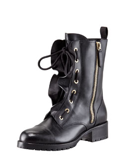 Valentino Ruffled Lace-Up Biker Boot