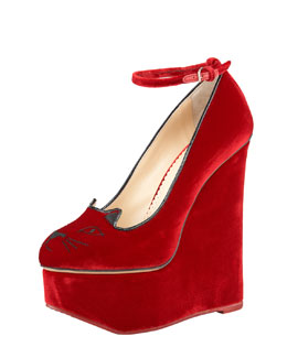 Charlotte Olympia Tessa Cat-Face Platform Wedge